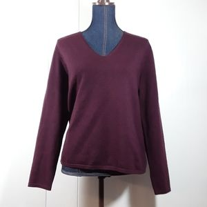 Eddie Bauer Burgundy Italian wool sweater s